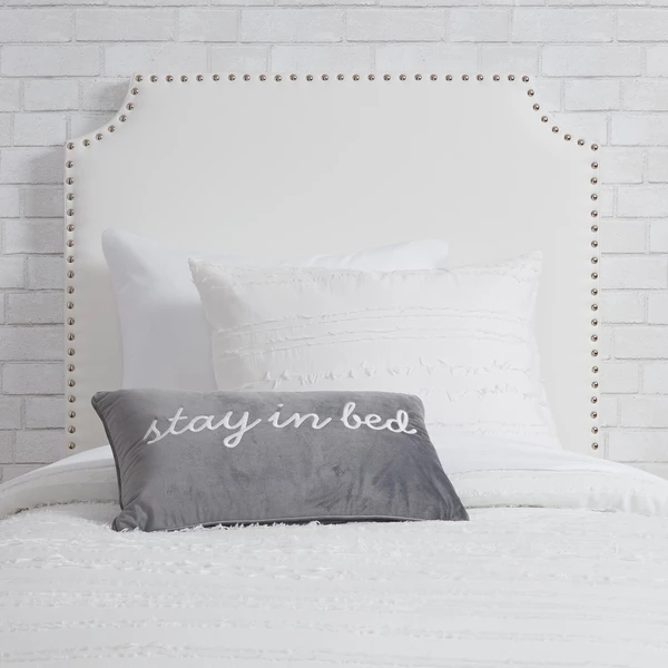 White Faux Leather Twin Twin Xl Powered Studded Headboard