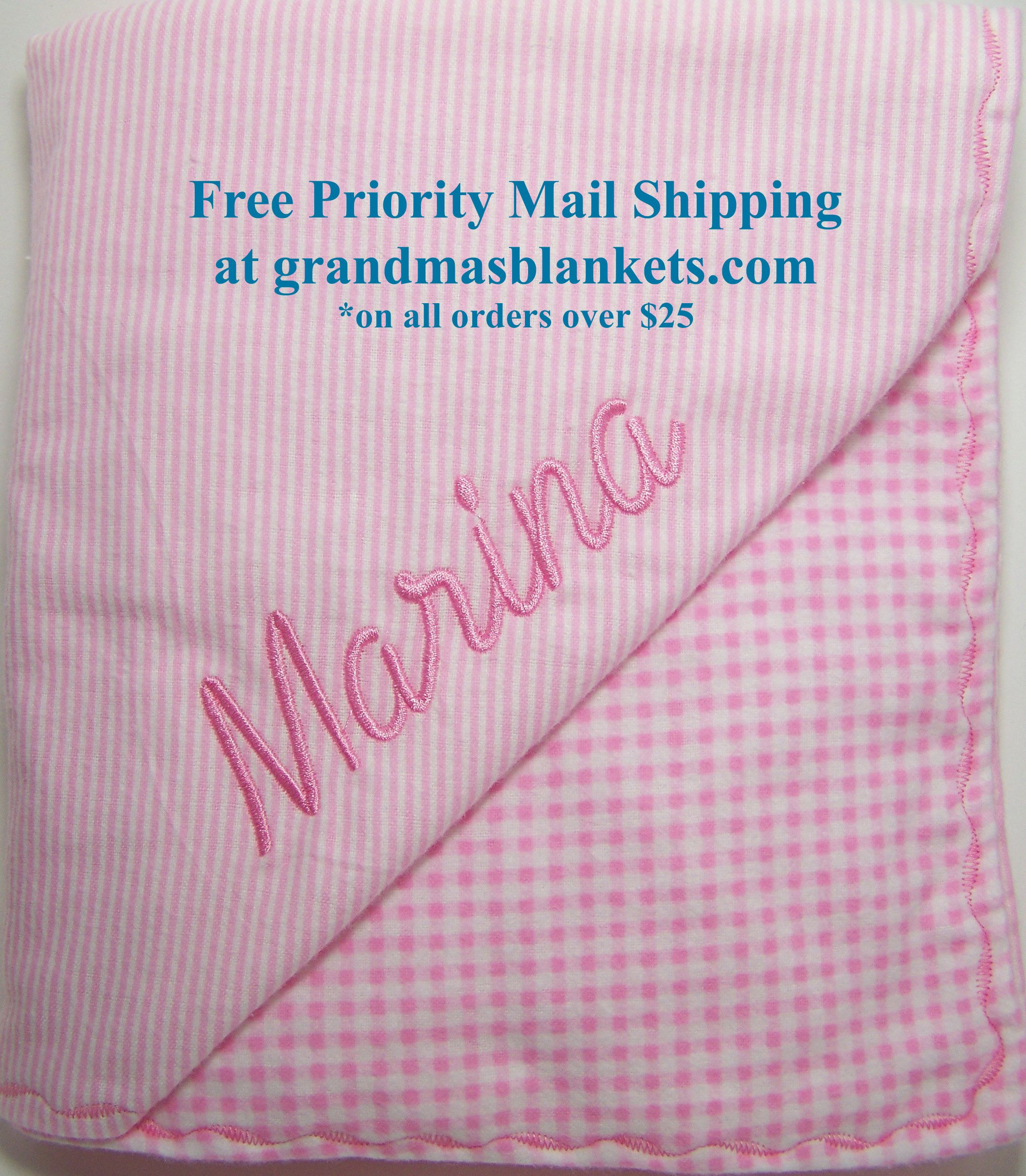 grandma s blankets has free priority mail shipping on all orders