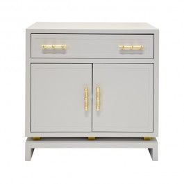 Worlds Away Marcus Gray and Gold Leafed Bamboo Cabinet