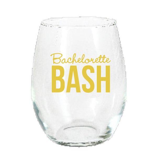 Bachelorette Bash Gold Stemless Wine Glass