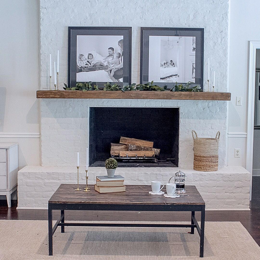 Brick Fireplace Wood Mantel White Brick Fireplace Wood Mantel Contemporary Living Room