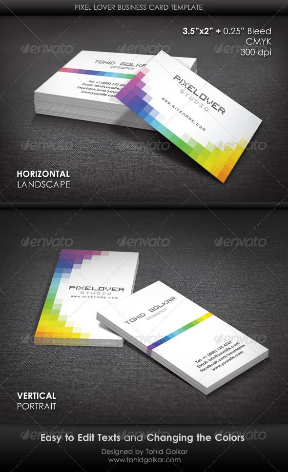 Pixel lover business card template pinterest card templates pixel lover business card template graphicriver pixel lover business card template features 352 inch 025 inch bleeds cmyk 300 dpi fonts used are free reheart Images
