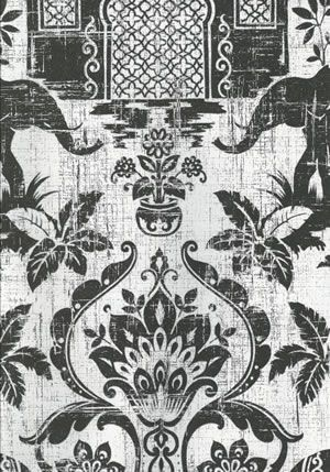 Indo Chic Galerie Wallpaper A Black And White Boho Featuring The Majestic Elephant