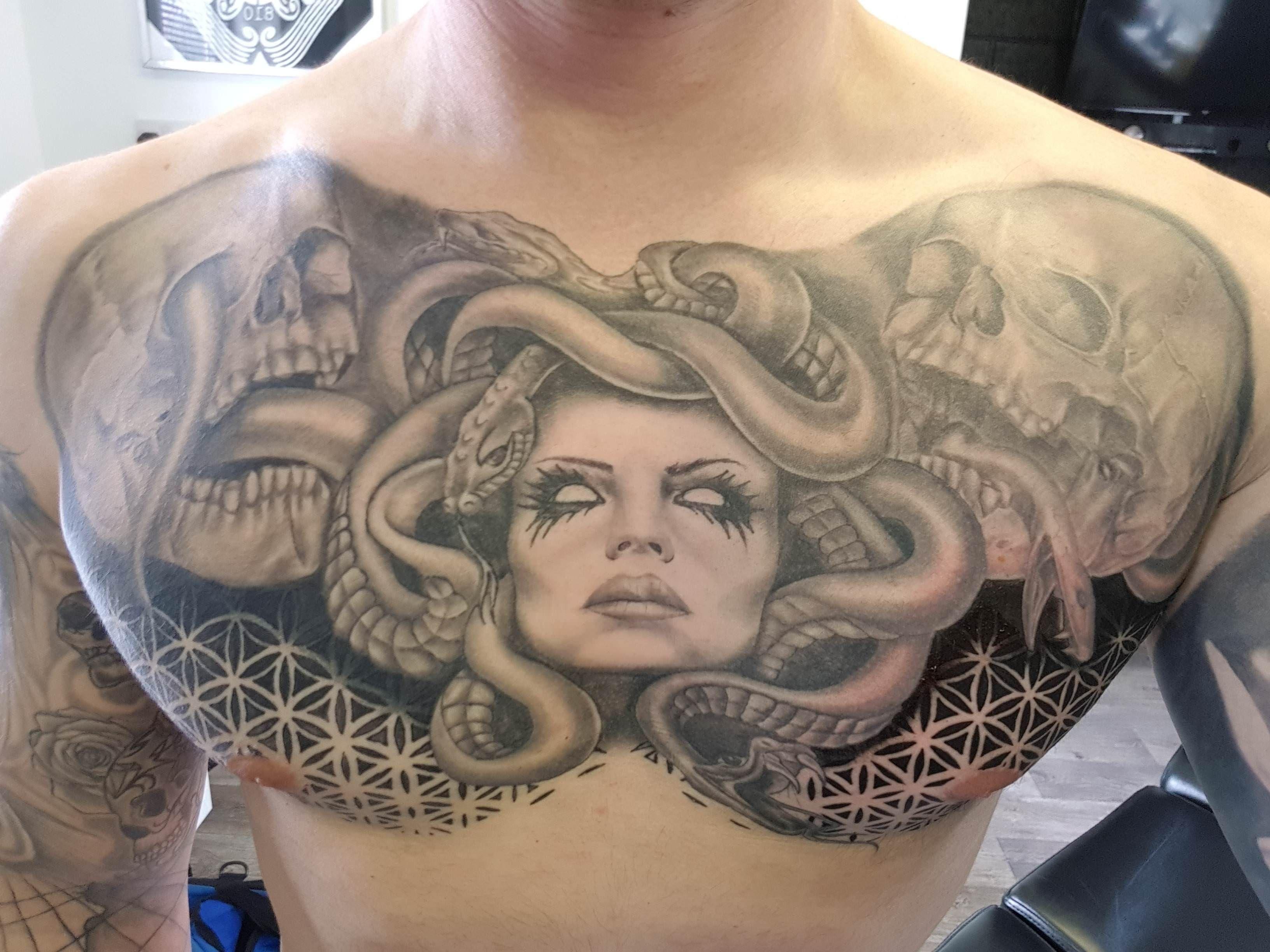 Medusa Chest Piece by Rich Black Pearl Studio Swadlincote