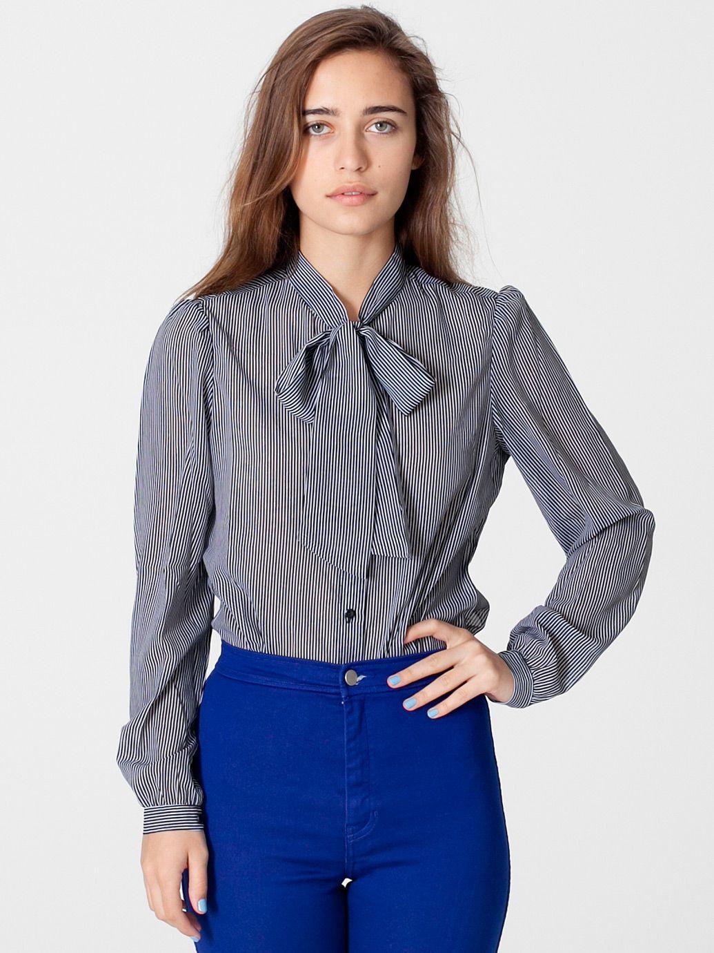 Stripe Chiffon Secretary Blouse Long Sleeves Womens Collared