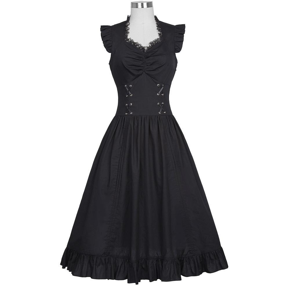 e40a4031345 Sleeveless Gothic Victorian Ruffle Women Dress