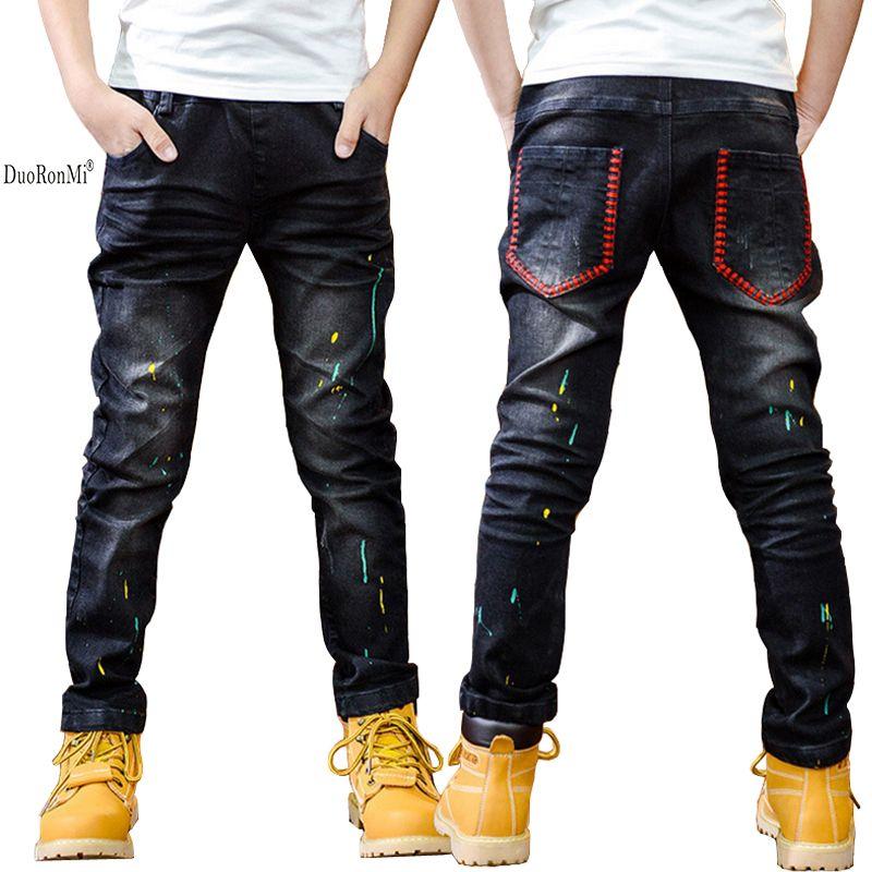 dc9230619 Cheap DuoRonMi Pintura Punto Denim Jeans Niños Pantalones Boy Pantalones  Otoño Primavera Kids Niños chicos Denim