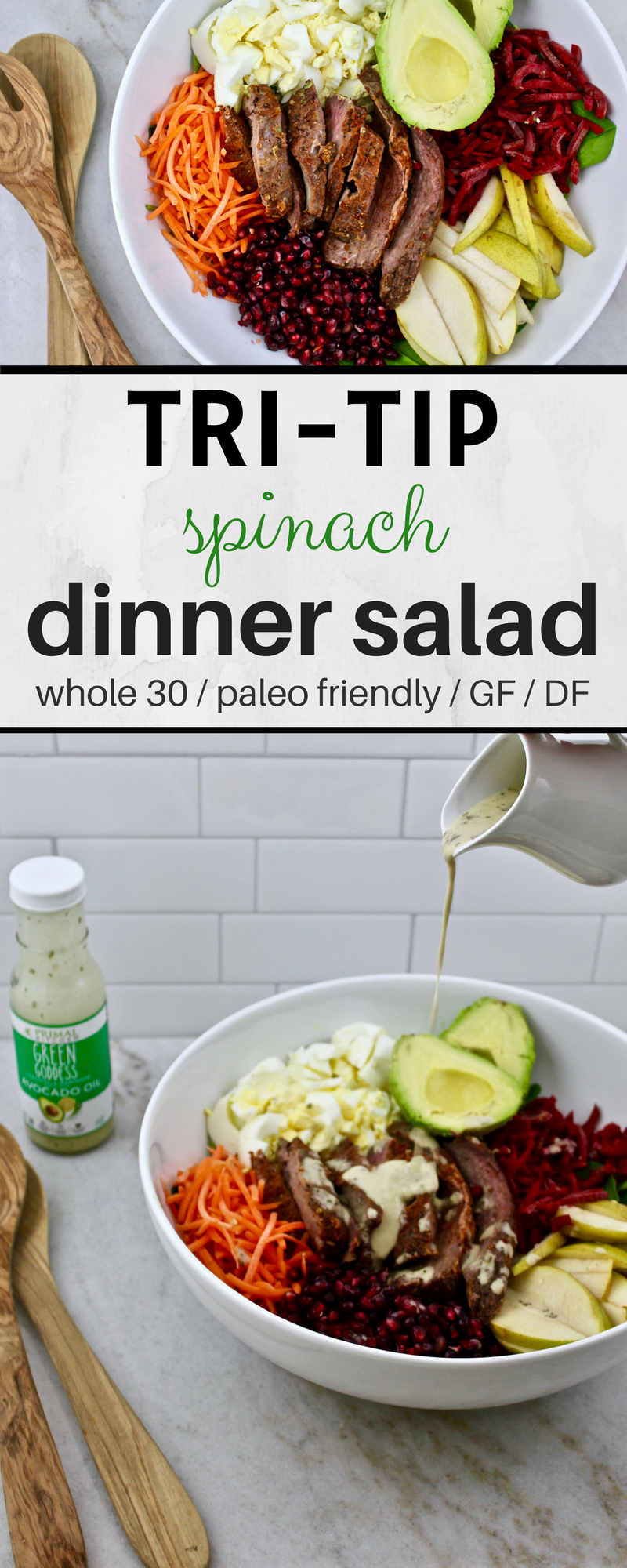 Tri-tip Spinach Salad with Primal Kitchen Green Goddess Dressing ...