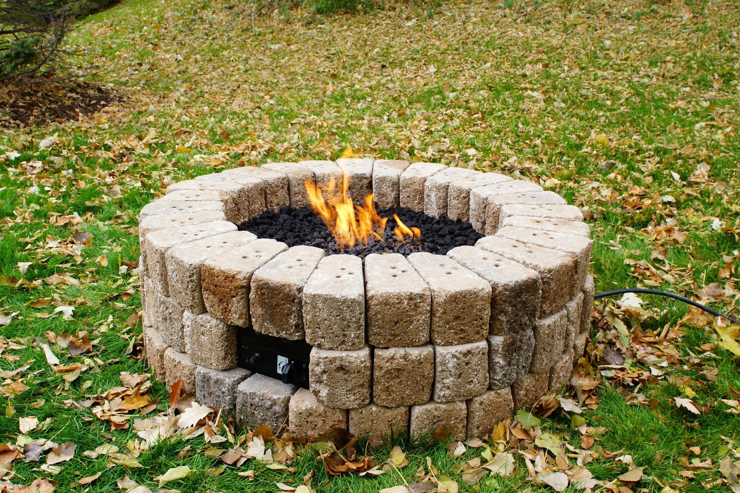 38 round doityourself hardscape gas fire burner kit by