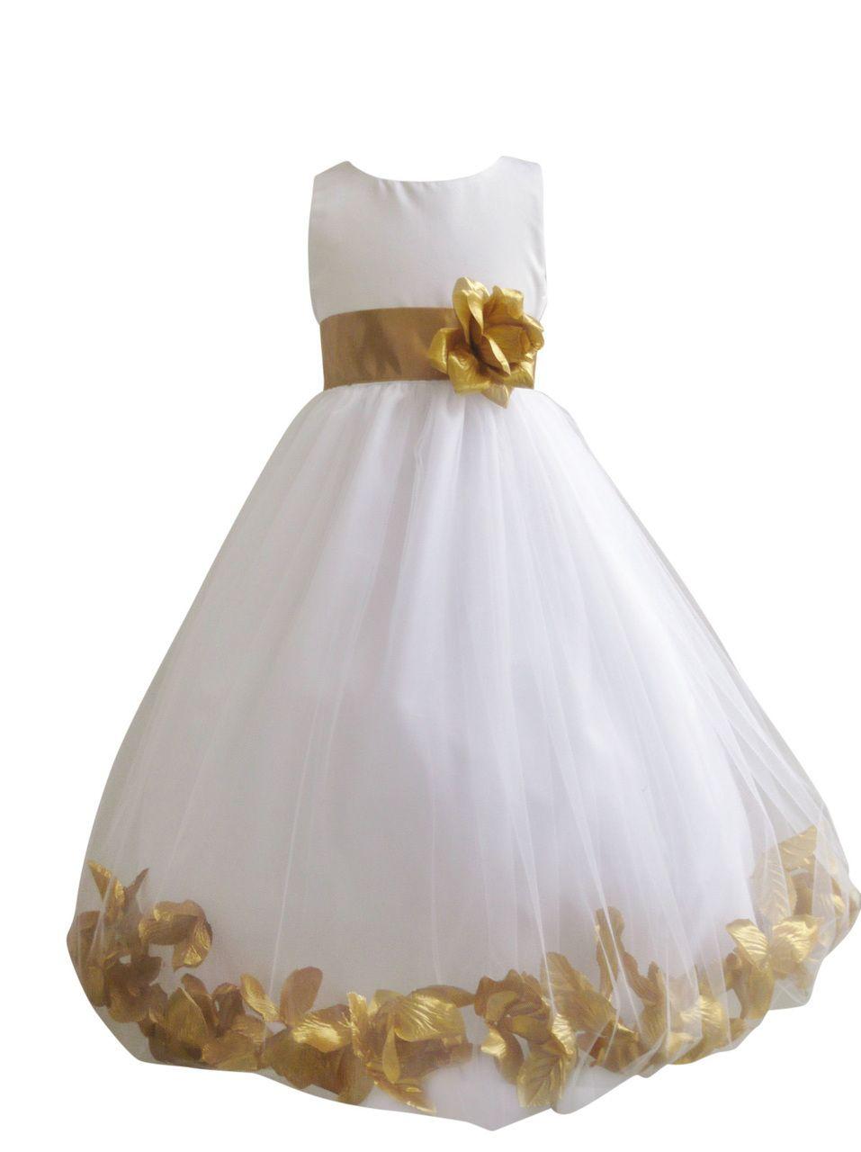 Flower Girl Dress Rose Petal Ivory, Gold - Easter, Wedding ...