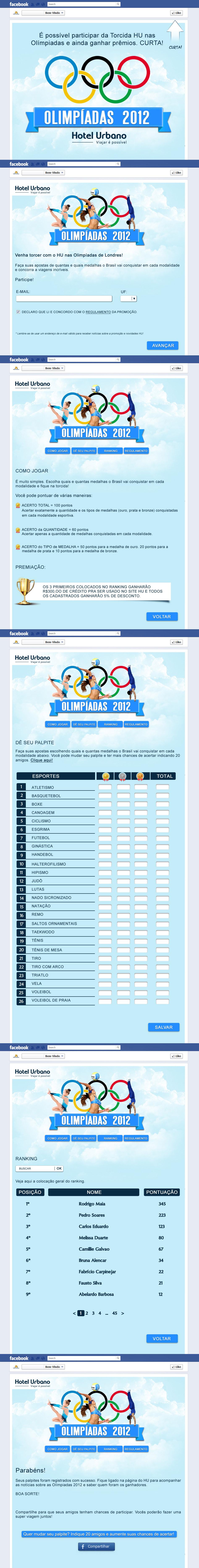 Criação Jogo Hotel Urbano Facebook Olimpíadas 2012!