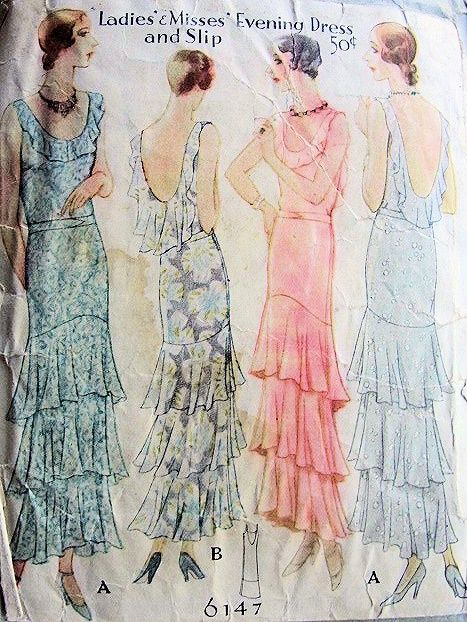 1930 Mccall Pattern 6147 Fler Great Gatsby Evening Dress And Slip Low U Back Tiered Ruffles Angle Hemline Totally Art Deco Style