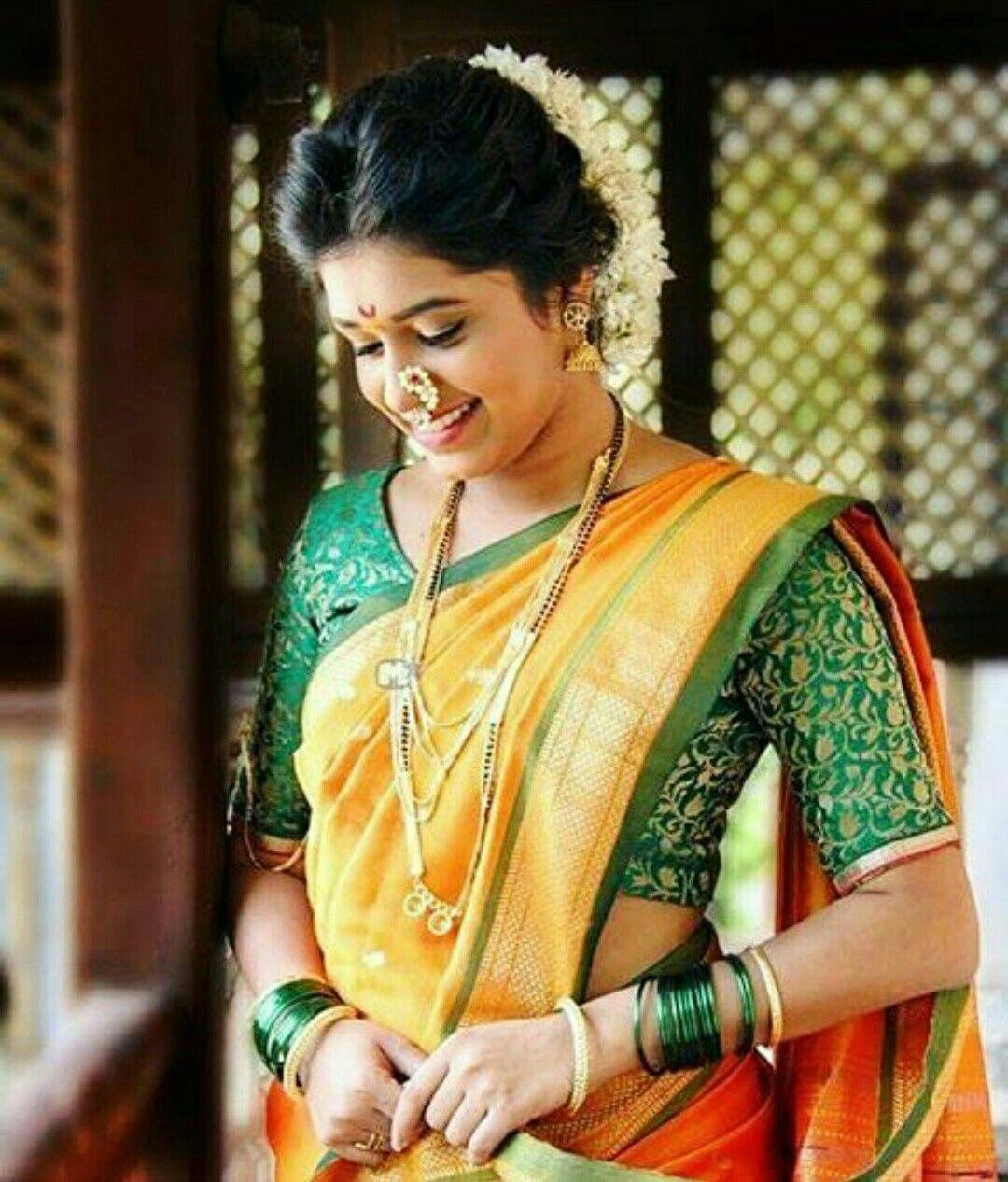 Maharashtrian Bride Hairstyle In 2019 Saree Wedding
