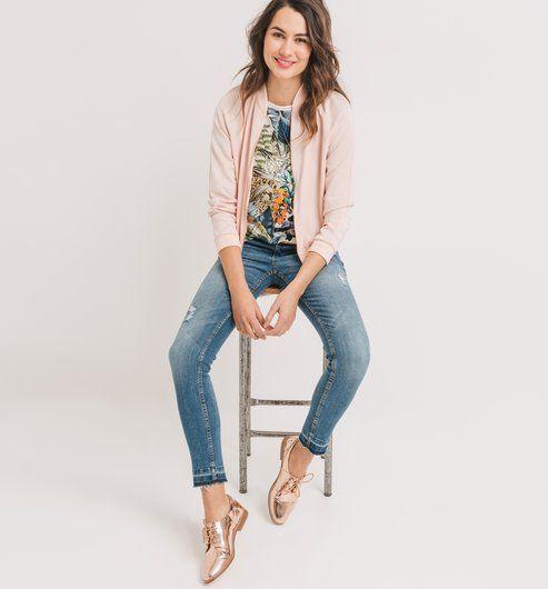 Blouson jean femme rose