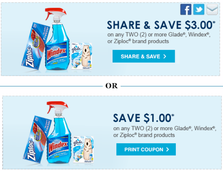 image relating to Ziploc Printable Coupons named Large Truly worth $3/2 Glade, Windex or Ziploc Brand name Items