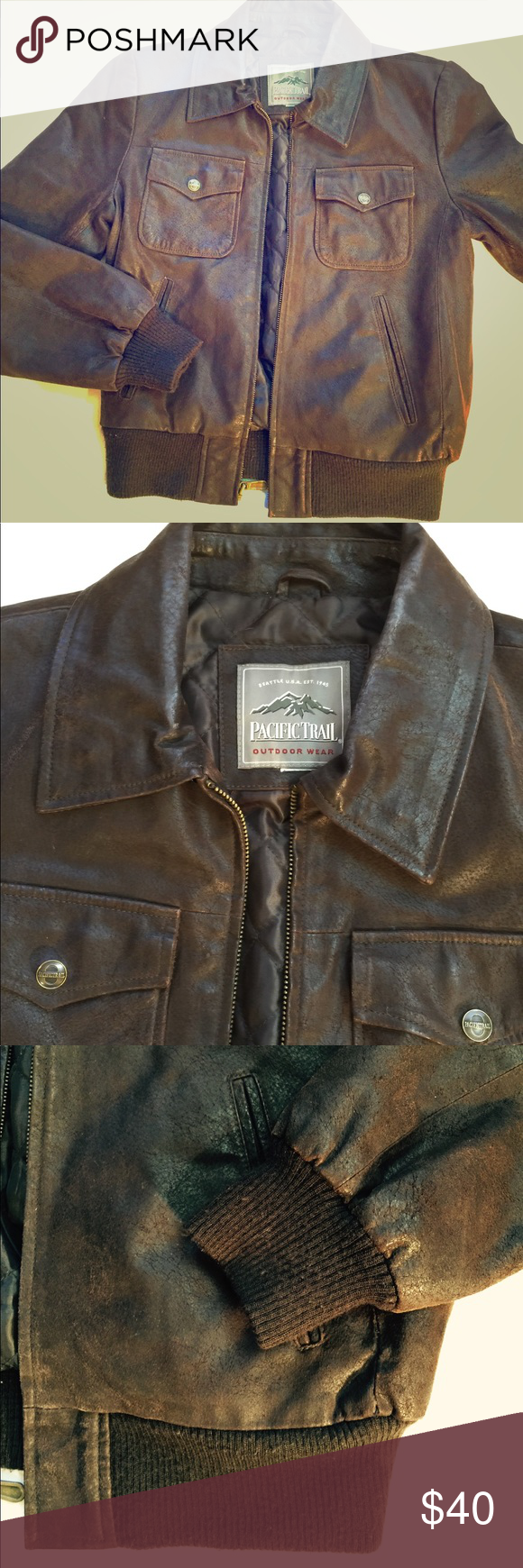 Pacific trail vintage leather bomber jacket size S Pacific