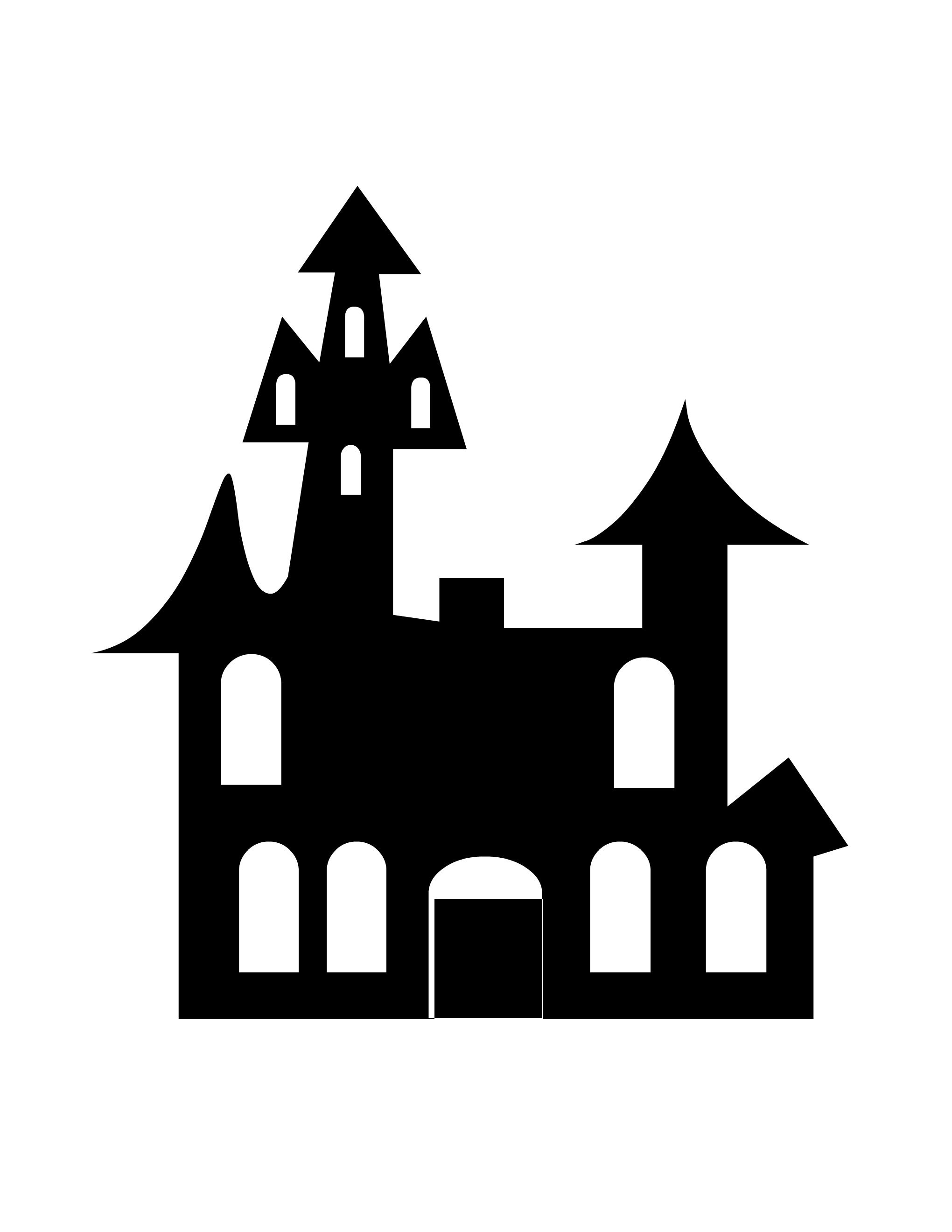 haunted house silhouettes coloring pages - photo#26