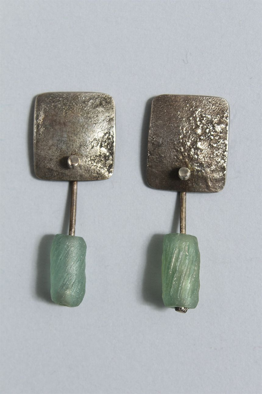 Faience Bead Earrings in Sterling Silver from Holly Masterson - Masterson Ancient Contemporary J at Cladin