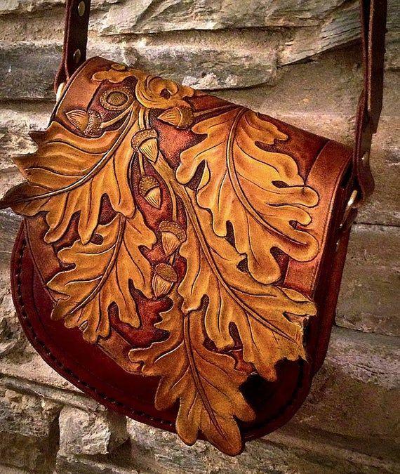 Photo of Artículos similares a Oak Leaf Bag Leather Hand Tooled Nature Woodland en Etsy