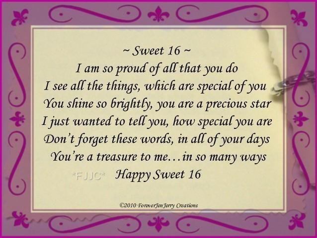 happy sweet sixteen birthday poem – Sweet Sixteen Birthday Greetings