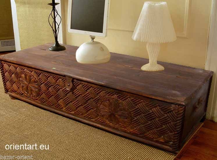 153x63 cm antik-look orient Massiv Couchtisch Wohnzimmer Tisch