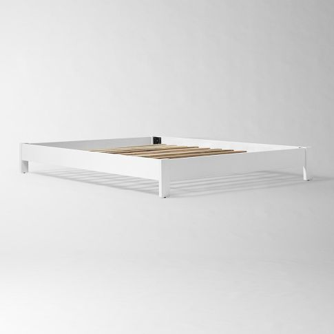 Simple Low Bed Frame White In 2020 Simple Bed Frame Low Bed