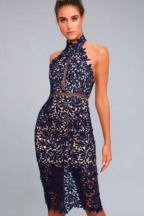 2fdca1390030d Divine Destiny Navy Blue Lace Midi Dress 2 | Style Me Pretty ...