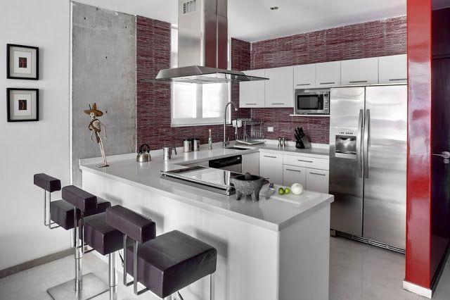 ESPACIOS INTEGRADOS COCINA SALA COMEDOR en artesydisenosblogspot - cocinas pequeas minimalistas