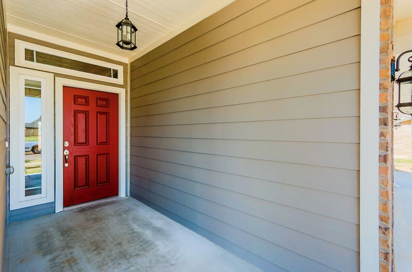 Front Door Accent Red Color Modern Contemporary Authentic Custom Homes Home Builders Custom Homes New Homes