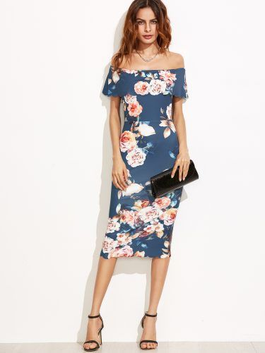 Blue Floral Off The Shoulder Scalloped Hem Sheath Dress