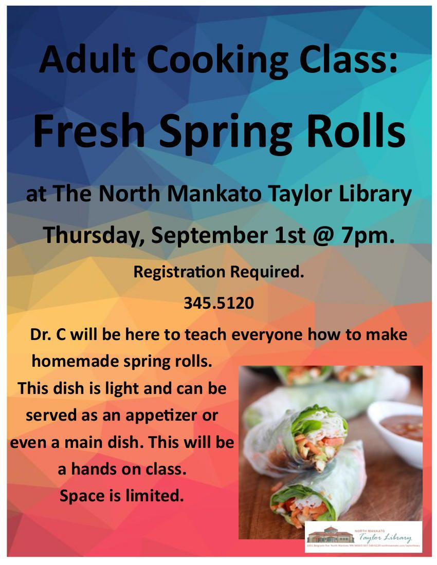 Learn to make spring rolls at the taylor library mankato