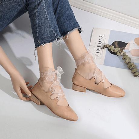 85eb4f626 itGirl Shop VINTAGE LEATHER LOW HEEL BALETTE POINTE LACEUP SANDALS  Aesthetic Apparel