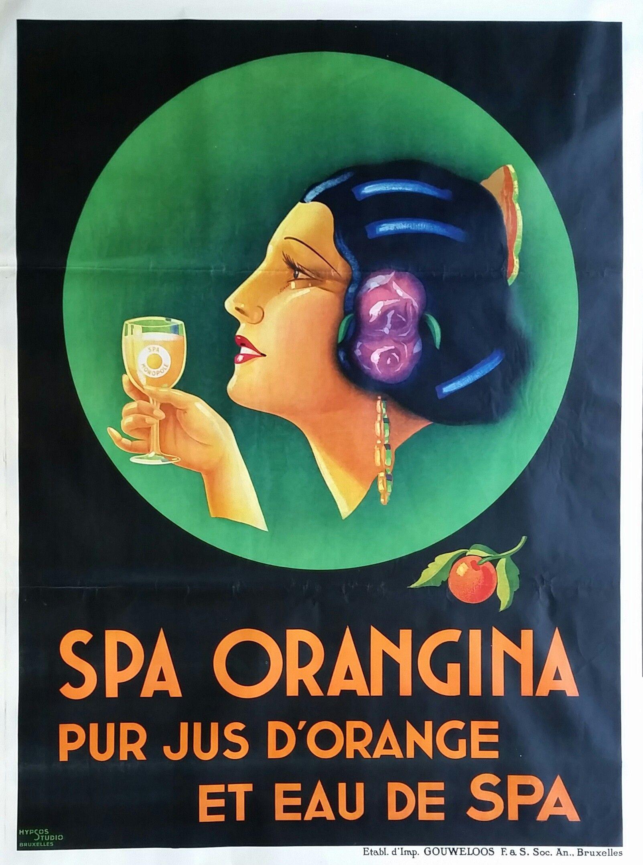 Original Vintage Poster Spa Orangina Hypsos Studio Circa 1930 Vintage Posters Orangina Classic Movie Posters
