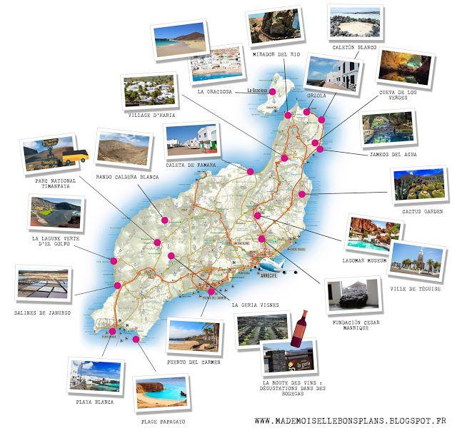 Carte Lanzarote.Carte Des Incontournables De Lanzarote Top 20 Des Choses A