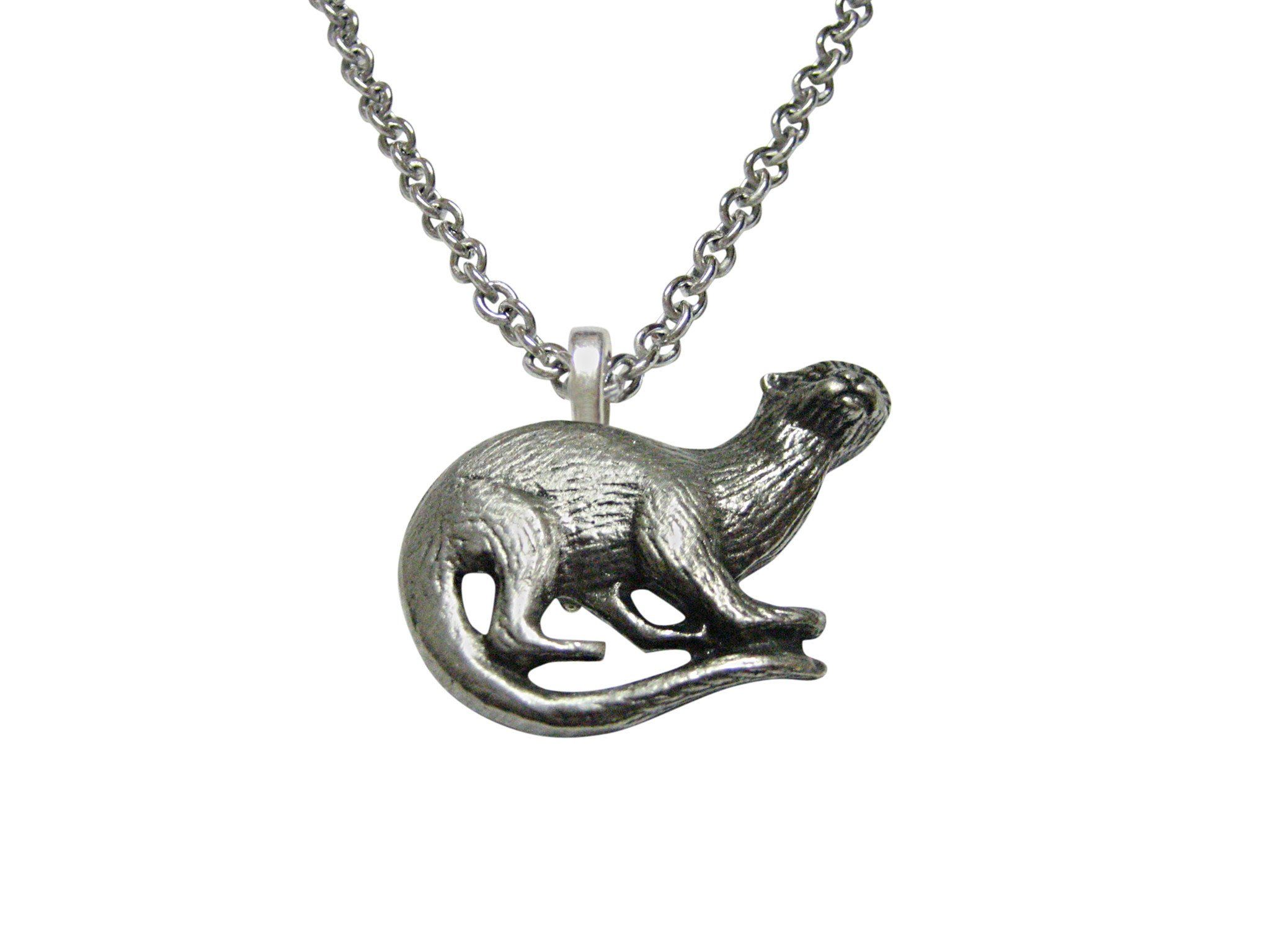 Toned otter pendant necklace silver toned otter pendant necklace aloadofball Image collections