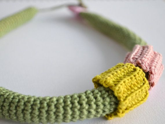 Simple necklace in pistachio green - crochet necklace- fiber jewelry