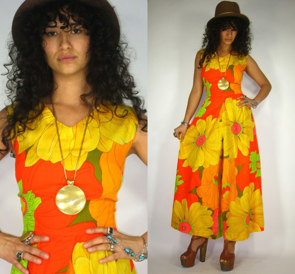Vintage 60s/70s NEON Daisy Print PSYCHEDELIC Hippie FULL Pants JUMPSUIT Maxi Dress