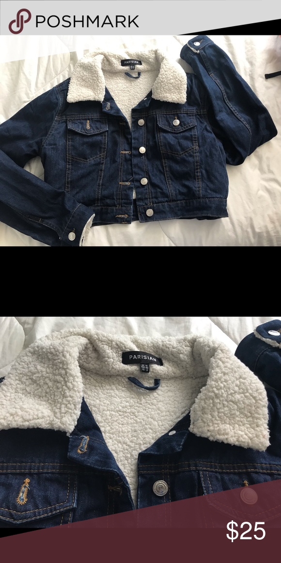 877528ed2 SOLD   Denim sherpa crop jacket