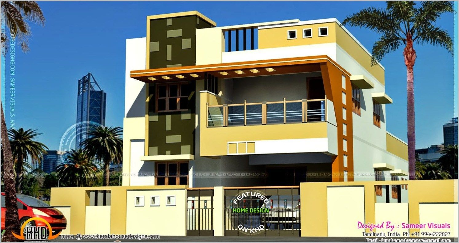 Modern south indian house design kerala home design floor for Home models in tamilnadu pictures