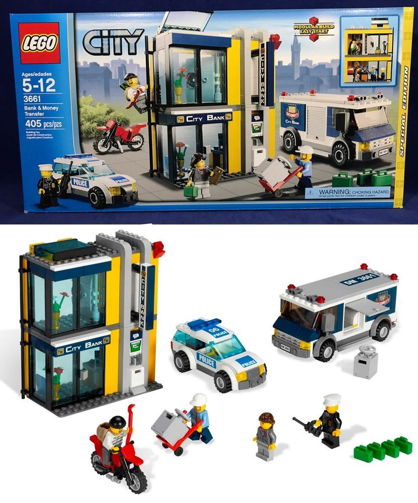 New Bank Money Transfer Lego City 3661 Police Car Cops Robbers