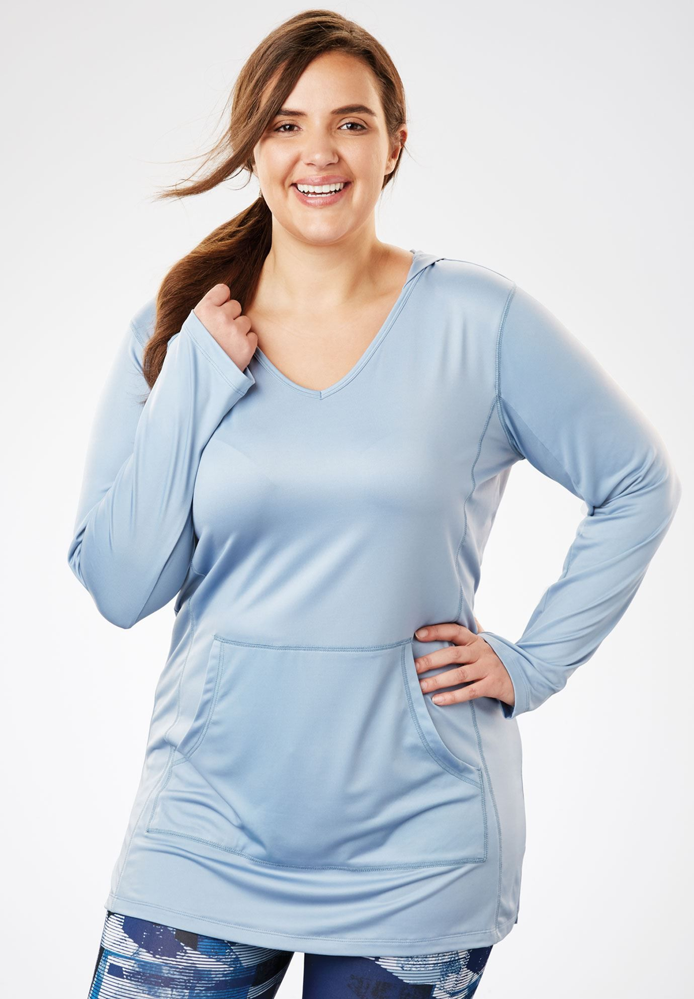 a13a0591929 Hooded Active Tunic by FullBeauty SPORT - Women's Plus Size Clothing ...