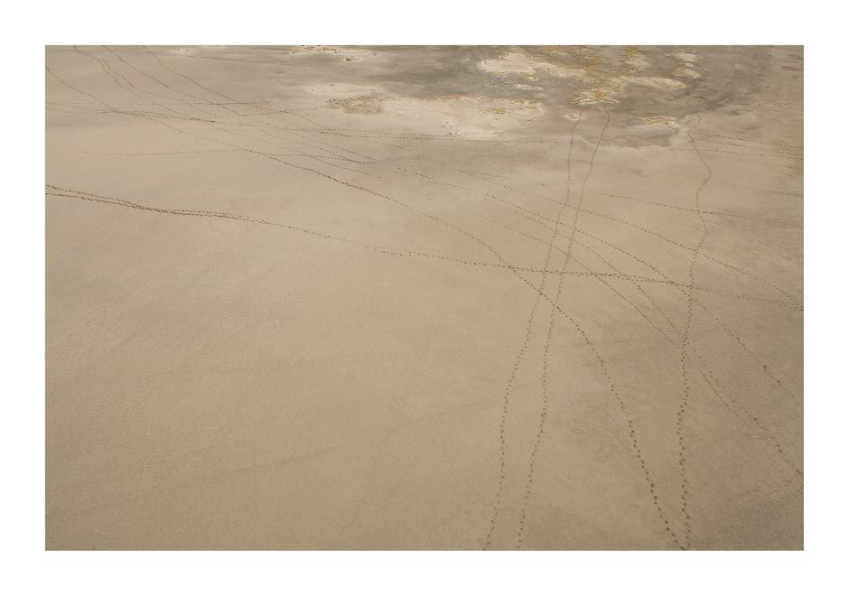 Abstract aerial photographic image of tracks crossing a