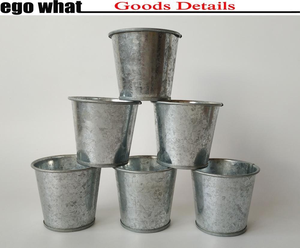 2019 Wholesale D6 5xh6cm Vintage Nostalgia Mini Garden Silver Metal Cup Pots Tin Succulent Planter Mini Galvanized Buckets Metal Cups Mini Garden Small Plants