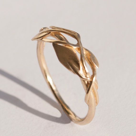 leaves ring no2 14k gold ring unisex ring wedding ring - Leaf Wedding Ring