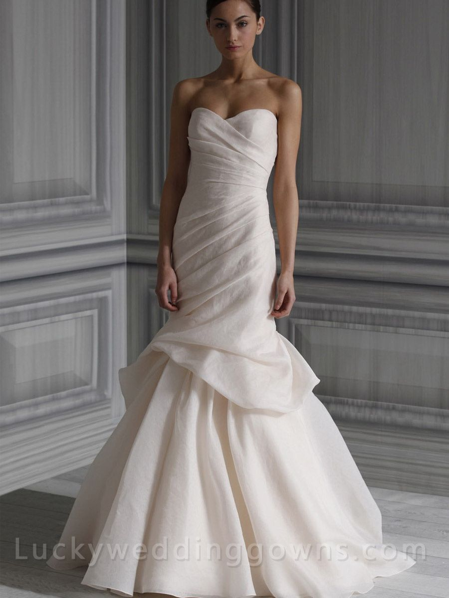 Blush silk jacquard strapless draped bodice bridal gown with hand