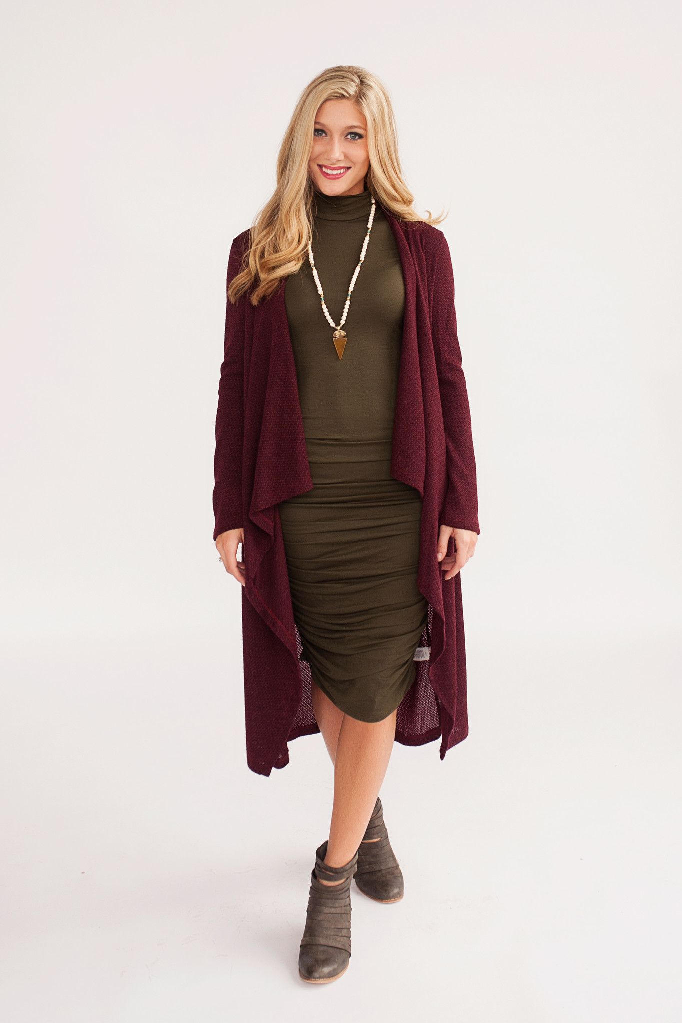 Maroon duster cardigan with long sleeves. | Piper Street Cardigans ...