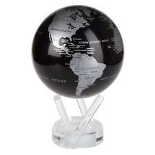 mova silver black metalic rotating motion globe 4 5 spinning moving
