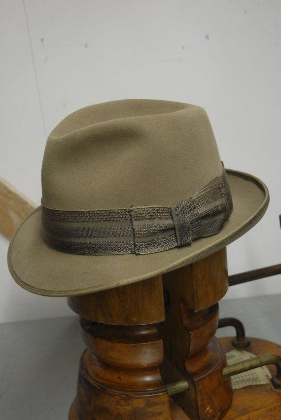 487b385c8eba0 Vintage 60 s Stone Beaver Fur Felt Short Rimmed Fedora Trilby Hat ...