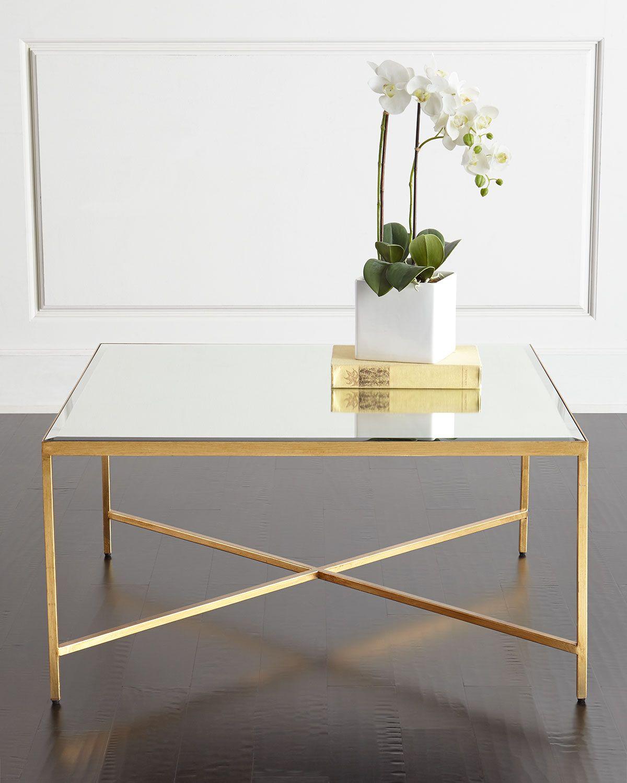 Larissa Mirrored Coffee Table, Gold / Mirror - INTERLUDE - Larissa Mirrored Coffee Table, Gold / Mirror - INTERLUDE *Accent