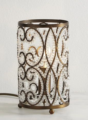 Beaded table lamp with cut glass crystals and bronze frame bhs beaded table lamp with cut glass crystals and bronze frame bhs mozeypictures Image collections